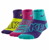Nike Girl's Graphic Crew Socks  - 3 Pack