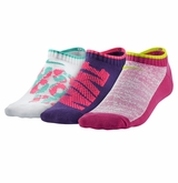 Nike Graphic Lightweight No-Show Girl's Socks - 3 Pack