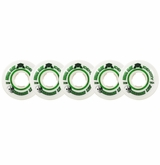 Rink Rat Crossbar Lite 76A Inline Hockey Goalie Wheel - White/Green - 5 Pack
