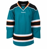 San Jose Sharks Reebok Edge Gamewear Uncrested Junior Hockey Jersey