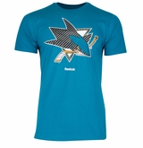 San Jose Sharks Reebok Face-Off Carbon Logo Sr. Short Sleeve Tee Shirt