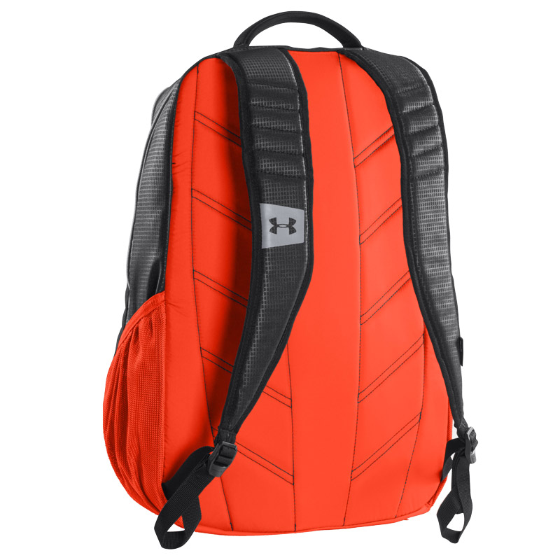 orange and black under armour backpack