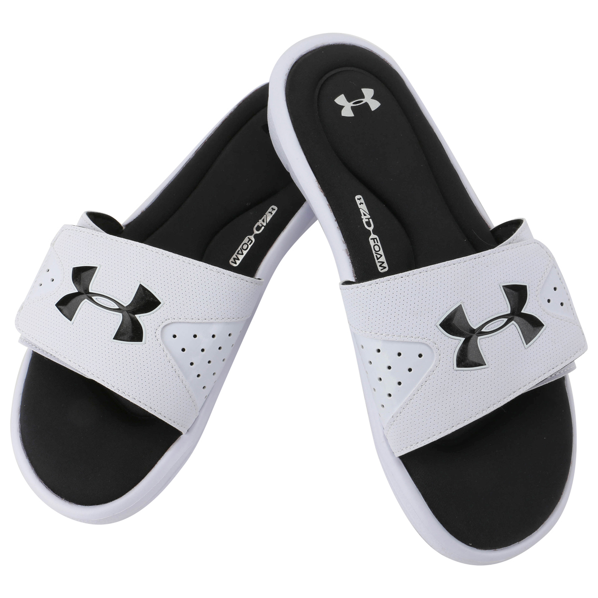 Under Armour Ignite IV Men\u0026#39;s Slide Sandals - White/Black