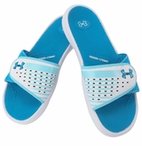 Under Armour Micro G EV II Women's Slide Sandal - White/Sky Blue/Dynamo Blue