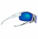 Under Armour Nitro L Youth Shiny White/Wordmark Frame w/Gray/Blue Lens - Multiflection