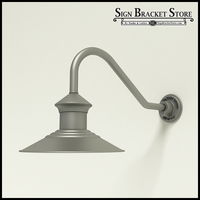 "Aluminum Gooseneck RLM Light 12"" Barn Light Shade w/ 18"" x 1/2"" Dia. Arm Extension"