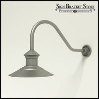 "12"" Barn Light Shade w/ Gooseneck Arm Extension - 22.25"" x 3/4"" Dia. Arm"