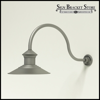 "Aluminum Gooseneck RLM Light -12"" Barn Light Shade w/  24.75"" x 3/4"" Dia. Arm"
