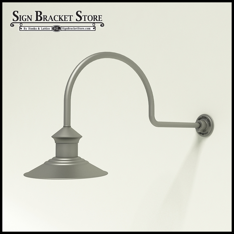 "Barn Light Pole: 12"" Barn Light Shade W/ Gooseneck Arm Extension"