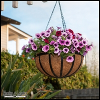"12"" English Garden Flat Steel Hanging Basket"