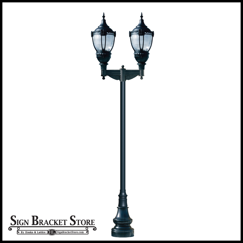 look dark sky lamp post with clear lens dual lamps and decorative base. Black Bedroom Furniture Sets. Home Design Ideas