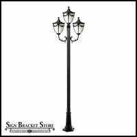 120v Powder Coated Cast Aluminum 3-Lamp Decorative Street Light