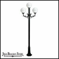 "120v Powder Coated Cast Aluminum 3-Lamp Globe Light Post Fixture | 10"" Globe"