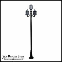 120v Powder Coated Cast Aluminum 3-Lamp Pagoda Style Post Light