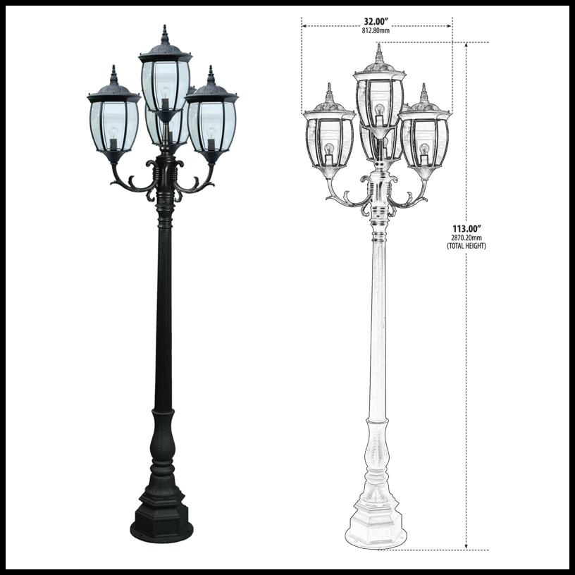 Residential Victorian Street Light with 4 Lamps