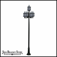 120v Powder Coated Cast Aluminum 5-Lamp Pagoda Style Post Light