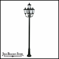120v Powder Coated Cast Aluminum 5-Lamp Post Fixture with Acrylic Lens