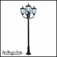 120v Powder Coated Cast Aluminum 5-Lamp Victorian Outdoor Lamp Post