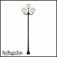 "120v Powder Coated Cast Aluminum Art Deco Style Large 3-Lamp Acrylic Globe Light Post | 18"" Globes"