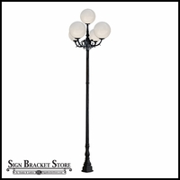 "120v Powder Coated Cast Aluminum Art Deco Style Large 5-Lamp Acrylic Globe Light Post | 18"" Globes"