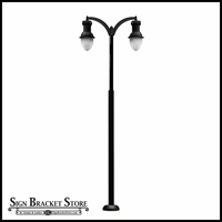 120v Powder Coated Cast Aluminum Basic Double Arm Large Lamp Post Fixture - Black Finish