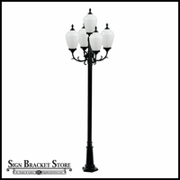 120v Powder Coated Cast Aluminum Exterior 5-Lamp Post Light Fixture
