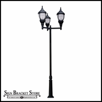 120v Powder Coated Cast Aluminum Lamp Post Fixture with Decorative Base|Triple Arms  - Black Finish