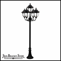 120v Powder Coated Cast Aluminum Old Time Outdoor Lamp Post - 5 Lights