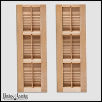 12in. Wide -3 Panel Exterior Plantation Shutters w/Operable Tilt Rod