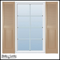 12in. Cathedral Top - Vinyl Combination Louvered over Panel Exterior Shutters (Custom Product) - Pair