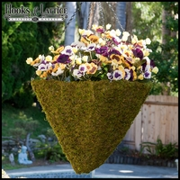 15in. Moss Pyramid Hanging Basket w/ Chain & Moss Ball Plug