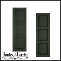 15in. Wide - Architectural Collection Raised 3 Equal Panel Shutters (pair)