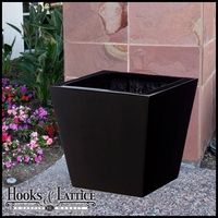"16"" Fiberglass Gloss Black Tapered Planter"