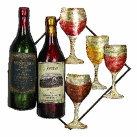 "17""W x 17""H Wine Bottles and Wine Glasses Wall Decor Art"