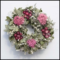 18in. Dried Salal, Hydrangeas, and Roses Wreath w/ Green Wreath Hanger