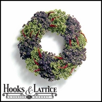 18in. Oregano and Chili Pepper Kitchen Wreath w/ Green Wreath Hanger