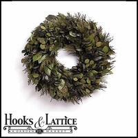 18in. Shades of Basil Preserved Wreath w/ Green Wreath Hanger