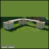 18in. Square Planter Bench System w/ Three Planters
