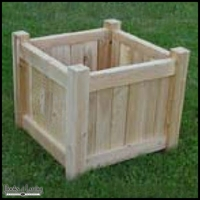"18"" square slatted cedar planter"