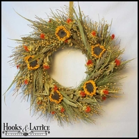 18in. Sunflower Country Wreath w/ Green Wreath Hanger