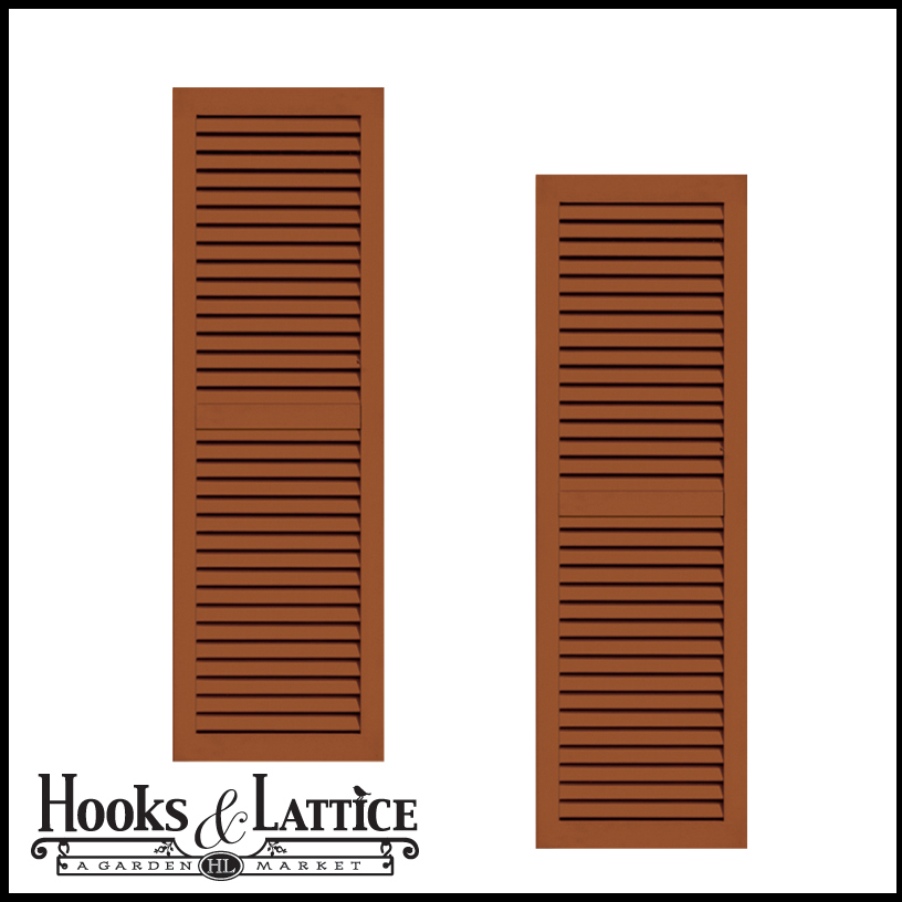 18in Wide Classic Collection 2 Panel Faux Louvered Wood