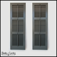 12in. Wide -Painted 3 Panel Exterior Plantation Shutters w/Operable Tilt Rod