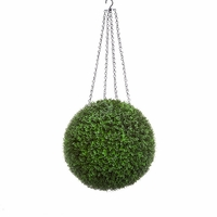 15in. Artificial Boxwood Hanging Sphere, Ornamental Long Grain, Indoor Rated