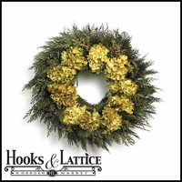 20in. Buttery Hydrangea and Cedar Preserved Wreath w/ Green Wreath Hanger
