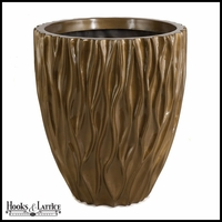 Pauline Fiberglass Round Planter - Metallic Gold/Brown