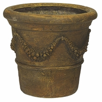 "21"" Fiberglass Garland Pot - Brown"