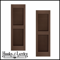 21in. Wide w/ Center Rail - Architectural Collection Fixed Louvered Composite Fiberglass Shutters (pair)