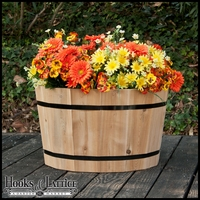 "24"" Cedar Round Half Wine Barrel Planter"