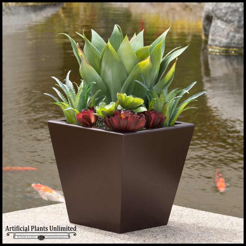 24in Urban Chic Planter With Artificial Agave And