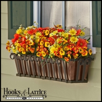 "24"" Venetian Decora Window Box with Oil - Rubbed Bronze Galvanized Liner"